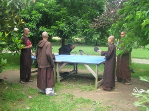 the monks playing ping pong